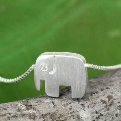Sterling silver pendant necklace, 'Elephants Forever' - Brushed Sterling Silver and CZ Elephant Pendant Necklace