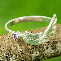 Amethyst band ring, 'Gift from a Dove' - Thai Artisanal Sterling Silver Bird Ring with Amethyst