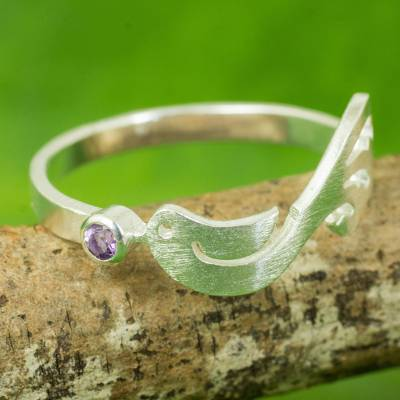Thai Artisanal Sterling Silver Bird Ring with Amethyst