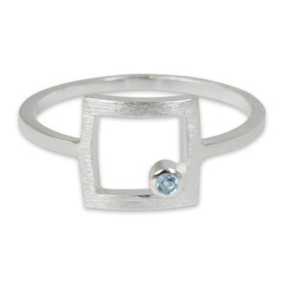 Blue topaz cocktail ring, 'Looking Outside' - Thailand Handcrafted Sterling Silver Ring with Blue Topaz