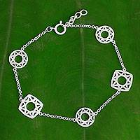 Sterling silver link bracelet, 'Starlight Geometry'