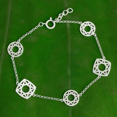 Sterling silver link bracelet, 'Starlight Geometry' - Handmade Modern Thai Sterling Silver Bracelet