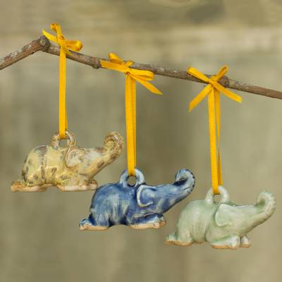 Celadon ceramic ornaments, 'Siam Elephant Trio' (set of 3) - Celadon Ceramic Elephant Ornaments in 3 Colors (Set of 3)