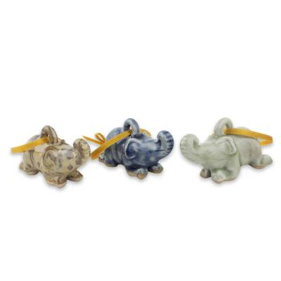 Celadon Ceramic Elephant Ornaments in 3 Colors (Set of 3)
