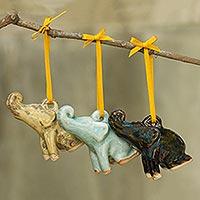 Celadon ceramic ornaments, 'Holiday Elephants' (set of 3) - Artisan Crafted Ornaments in Celadon Ceramic (Set of 3)