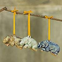 Celadon ceramic ornaments, 'Sawasdee Elephants' (set of 3) - Blue Green and Brown Ceramic Elephant Ornaments (Set of 3)