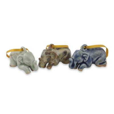 Celadon ceramic ornaments, 'Sawasdee Elephants' (set of 3) - Blue Green and Brown Ceramic Elephant Ornaments (Set of 3)