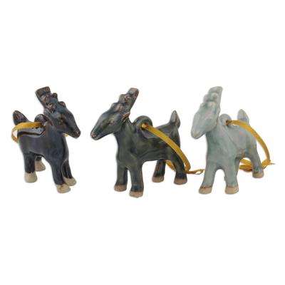 Celadon Ceramic Deer Ornaments in Blue and Brown (Set of 3)