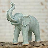 Celadon ceramic statuette, 'Happy Lucky Elephant' - Light Blue Elephant Celadon Ceramic Statuette