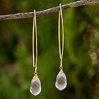 Gold vermeil rose quartz earrings, 'In a Twist' - 24k Gold Plated Sterling Silver Rose Quartz Earrings