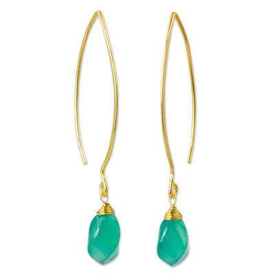 Gold vermeil chalcedony dangle earrings, 'In a Twist' - Spiral Faceted Green Chalcedony Dangle Earrings
