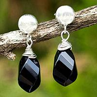 Onyx dangle earrings, 'From Chiang Mai with Love' - Sterling Silver Dangle Earrings with Onyx Briolettes