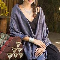 Rayon and silk blend shawl, 'Mandarin Storm'