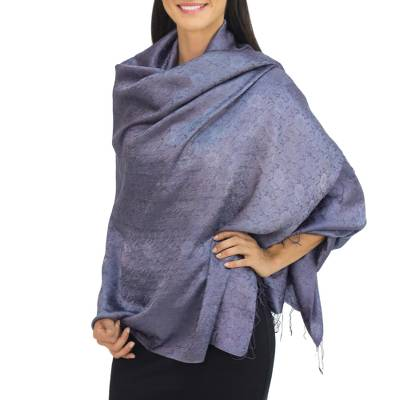Rayon and silk blend shawl, 'Mandarin Storm' - Blue Grey Jacquard Floral Shawl in Rayon and Silk