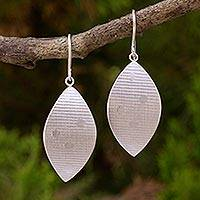 Sterling silver and wood dangle earrings, 'Leaf of Joy' - Artisan Crafted Sterling Silver Leaf on Wood Earrings