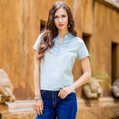 Women S Light Green Cotton Blouse With Short Sleeves Chiang Mai