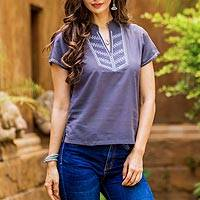 Cotton blouse, 'Thai Journey' - Women's Embroidered Grey Cotton Pullover Blouse