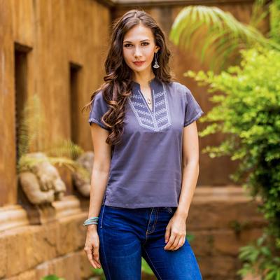 29d0ca07c27709 Cotton blouse, 'Thai Journey' - Women's Embroidered Grey Cotton Pullover  Blouse