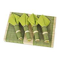 Cotton and bamboo table linens, 'Green Thai Classic' (set for 6) - Artisan Crafted Bamboo and Cotton Table Linens (Set of 6)