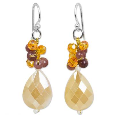 Artisan Crafted Beaded Dangle Earrings with Quartz