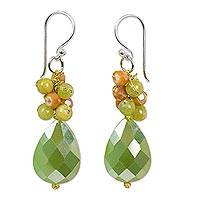 Beaded dangle earrings, 'Leafy Garden' - Colorful Beaded Dangle Earrings Handmade in Thailand