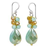 Beaded dangle earrings, 'Aqua Dream' - Beaded Dangle Earrings in Aqua Shades from Thai Collection