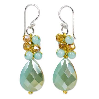 Beaded Dangle Earrings in Aqua Shades from Thai Collection