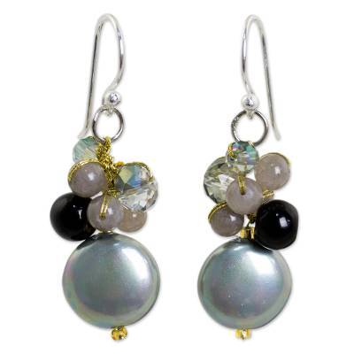 Beaded Glass and Quartz Dangle Earrings with Faux Pearl