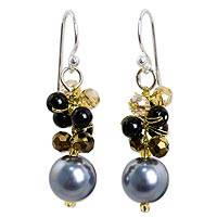 Beaded dangle earrings, 'Full Moon in Grey' - Fashion Dangle Earrings with Onyx and Glass Beads