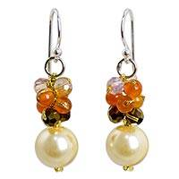 Beaded dangle earrings, 'Full Moon in Yellow' - Beaded Fashion Earrings with Carnelian and Glass Beads