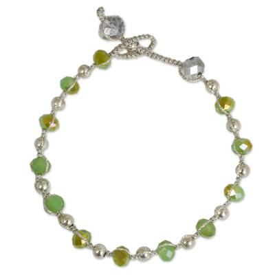 Beaded bracelet, 'Jungle Oasis' - Beaded Bracelet with Green Glass and Silver Plated Beads