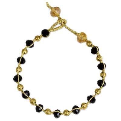 Black and Gold Beaded Bracelet on Metallic Cords