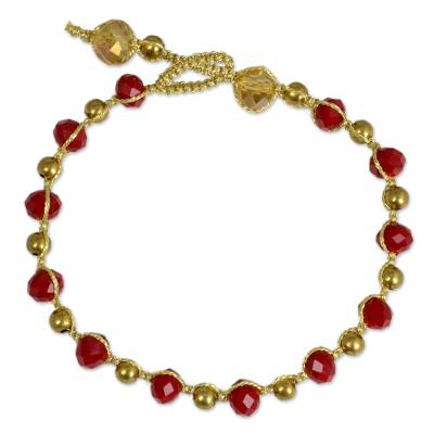 Red Glass and Brass Handcrafted Bead Bracelet from Thailand