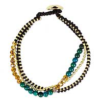 Beaded bracelet, 'Happy Chic in Brown and Green' - Artisan Crafted Bead Bracelet with Serpentine and Glass