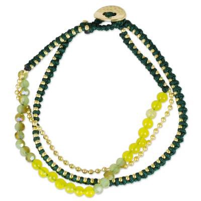 Green and Yellow Beaded Bracelet with Gold Tone Accents