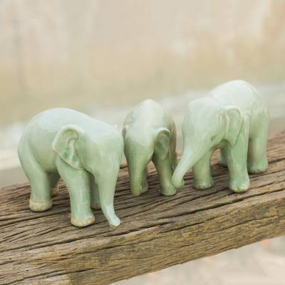 Celadon ceramic figurines, 'Green Elephant Brothers' (set of 3) - Three Celadon Ceramic Elephant Sculptures from Thailand