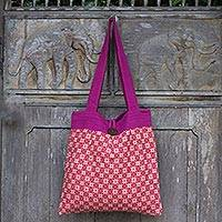 Cotton shoulder bag, 'Festive Fuchsia Stars' - Red Geometric Print Cotton Shoulder Bag with Fuchsia Trim