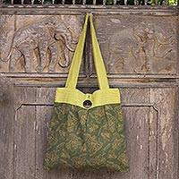 Cotton shoulder bag, 'Olive Lilies' - Handcrafted Green Print Cotton Shoulder Bag from Thailand