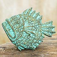 Recycled paper wall sculpture, 'Fierce Piranha' - Thai Recycled Paper Wall Sculpture of Green Piranha Fish