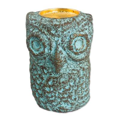 Thai Recycled Paper Eco-Friendly Owl Tealight Candleholder