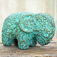 Recycled paper figurine, 'Sleepy Elephant' - Eco-Friendly Recycled Paper Thai Elephant Sculpture