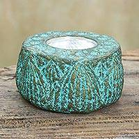 Recycled paper candleholder, 'Lotus Throne' - Artisan Crafted Recycled Paper Tealight Candleholder