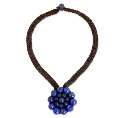 Lapis lazuli flower pendant necklace, 'Made to Bloom' - Hand Crocheted Necklace with Lapis Lazuli Pendant