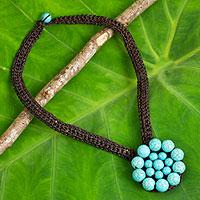Calcite flower pendant necklace,