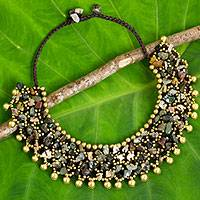 Jasper beaded collar necklace, 'Joyful Noise'