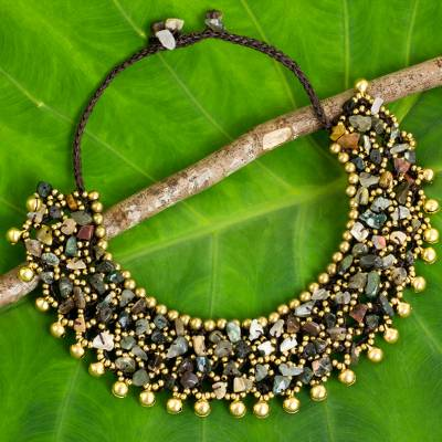 Jasper beaded collar necklace, 'Joyful Noise' - Handmade Beaded Jasper and Brass Necklace with Bells