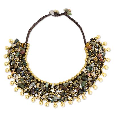 Jasper beaded collar necklace, 'Joyful Noise' - Handmade Beaded Jasper and Brass Necklace with Bells