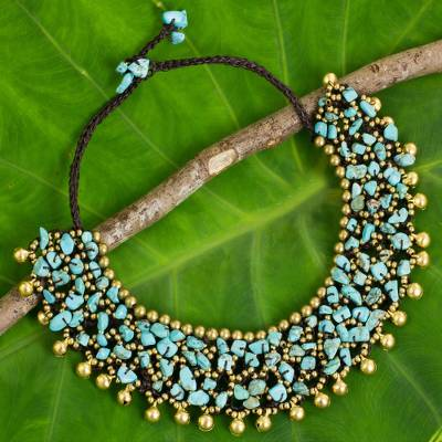 Collar Style Necklace with Blue Calcite and Brass Beads