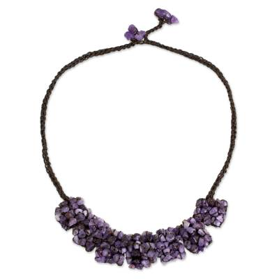 Amethyst beaded necklace, 'A Sense of Nature' - Amethyst Chip Pendant Necklace on Dark Brown Cords