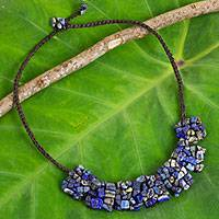 Lapis lazuli beaded necklace, 'A Sense of Nature' - Thai Crocheted Cord Necklace with Lapis Lazuli Chips
